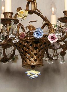 Whimsical Vintage French Basket Chandelier w/ Porcelain Flower, c.1940