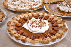 Sweet Potato Pie with Whipped Cream & Candied Pecans.I didn't have time for the candied pecans but it was really good! Party Desserts, Holiday Desserts, Just Desserts, Holiday Recipes, Dessert Recipes, Thanksgiving Recipes, Sweet Potato And Apple, Pie Pops, Candied Pecans