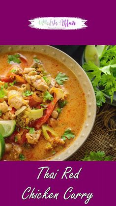 Thai Red Chicken Curry is a popular curry from Thai cuisine. You can make it vegetarian, with chicken, shrimp or with fish. Easy Casserole Recipes, Soup Recipes, Vegetarian Recipes, Cooking Recipes, Thai Red Chicken Curry, Red Thai Curry Vegetarian, Thai Bbq Chicken Recipe, Spicy Chicken Curry Recipes, Red Curry Shrimp
