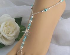 FREE US SHIPPING Turquoise Pearl Rhinestone Starfish Foot Jewelry Wedding Starfish Barefoot Sandal