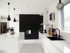 Ivory and Noir Condo Design, Home Room Design, Bathroom Interior Design, Kitchen Interior, House Design, Kitchen Cabinets Decor, Kitchen Redo, Home Decor Kitchen, Galley Style Kitchen