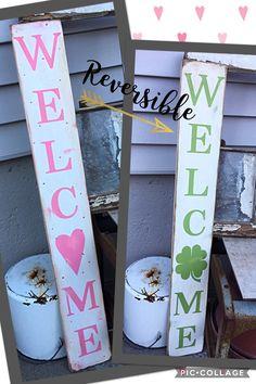 reversible sign, valentines sign, st patricks day sign, standing sign, pallet, wooden sign, primitive decor, valentines day, saint patrick https://www.etsy.com/listing/504681791/reversible-sign-valentines-sign-st