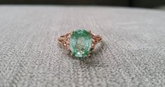 Mint Tourmaline and Diamond Ring Gemstone by PenelliBelle on Etsy