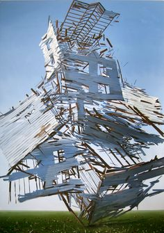 Ben Grasso, House of Cards. 2008, oil on canvas, 70x100""