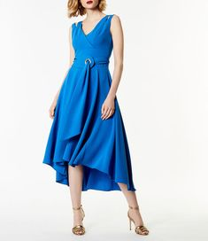 2c5db3dbef Pretty Karen Millen Uk Sale Blue Belted Fluid Midi Dress Hot Sale :  Sleeveless design with shoulder cut-outs. Karen Millen 18765 V neck.