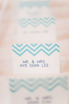 Chevron Escort Cards- dress them up by using an elegant calligraphy font in gold