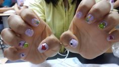 Frogs nail art. #cute #nailart #nailpolosh #purple #green #flies