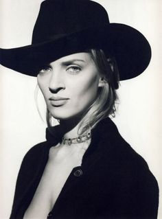 Uma Thurman...I love the actress...and everything about this look. Strong and beautiful!...b♡