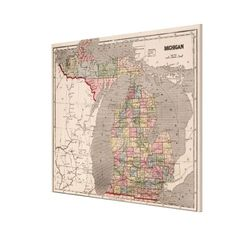 Vintage Map of Michigan (1844) Canvas Print