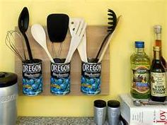 Great idea but maybe decorate the cans with material or contact paper