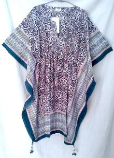 Boho Chic Anokhi Teal Floral Jali style Hand block print Cotton Kaftan Tunic top One size