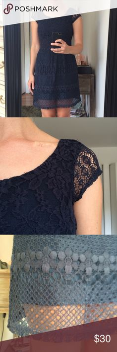 Maison Jules Navy Blue Lace Dress Blue lace dress with gorgeous low cutting back, hits just above the knees on me and I'm 5'7. All offers welcome! Maison Jules Dresses Backless