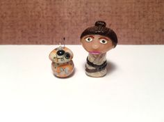 OOAK Star Wars Inspired Rey w/ BB8 Mini Character Pop Culture 'Shroom Figurines - Set - Handpainted Polymer Clay Sculpture by jdsART on Etsy