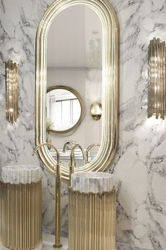 Home design can be a daunting task, one often struggles to find the perfect fit for what our style goals really are! Contemporary Bathrooms, Contemporary Design, Modern Bathroom, Bathroom Inspo, Mirrors And Marble, Marble Wall, Bathroom Design Inspiration, Classic Bathroom, Beautiful Lines