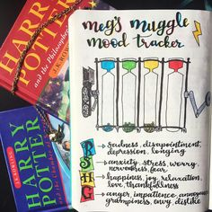 Fresh bullet journal ideas for mood trackers! Yearly, monthly or weekly layouts. So useful for your wellness and self care. Like this amazing Harry Potter spread complete with doodles and beautiful lettering.