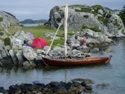 faering and tent, Norwegian island