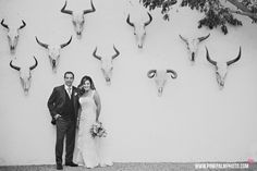Bride & groom Baja wedding portrait with bull skulls in the background at Hotel Drift. #cabosanlucas #cabowedding #loscaboswedding #destinationwedding #mexicowedding #bajawedding #weddingphotographers #loscabosweddingphotographers #caboweddingphotographers #bridetobe #wedspiration #drift #driftsanjose