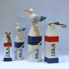 Wooden Crafts Creative Home Of The Mediterranean Float Seabirds Mediterranean style Wooden Ornaments Home Decor
