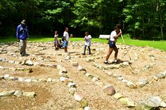 Taking a minute to walk the labyrinth. Shrine Mont 2013