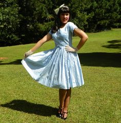 1950s Vintage Baby Blue Cotton Dress with Full by Enchantedfuture
