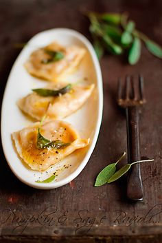 Sage & pumpkin ravioli | More foodie lusciousness here: http://mylusciouslife.com/photo-galleries/wining-dining-entertaining-and-celebrating/