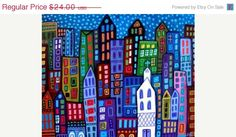 CITY ART PRINT - New York City Posters - Modern Abstract Contemporary Paintings - Cityscape - Wedding Gifts. $20.40, via Etsy.