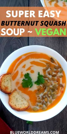BWD Food: A simple healthy vegan Butternut Squash soup recipe made in just 30 minutes. Make it using your stove, crockpot, or Instant Pot, any appliances works for this quick Fall Autumn time recipe. Its dairy-free, gluten-free, oil-free, and nut-free, a great plant-based soup! #fall #vegan #butternutsquashsoup #healthly #fallsouprecipes #autumn