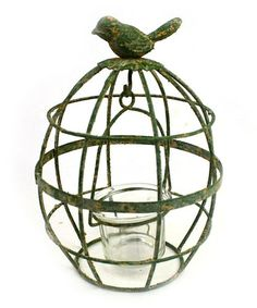 Look what I found on #zulily! Rustic Green Wire Cage Candleholder #zulilyfinds