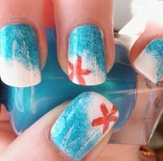 Ocean Nails with White Ombré Foam and Starfish Designs