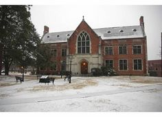 The Library in the snow, (Photo by Dr. Huntingdon College, College Board, Ghosts, Snow, Mansions, House Styles, Home, Manor Houses, Villas