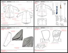 Adidas, active sport, outerwear technical drawing