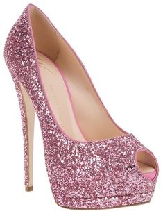 Sparkly Pink Peep toe Pumps #shoes