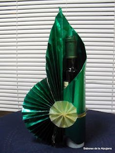 gift wrapped wine bottle