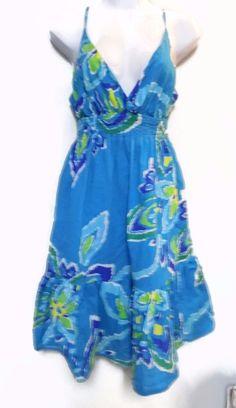 Old Navy Women's Multi Color Sundress Dress Sleeveless Lined 100% Cotton Size M #OldNavy #EmpireWaist #SummerBeach