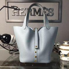 Hermes Calfskin Leather Picotin Lock MM Bag with Rivet