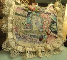 I ❤ crazy quilting, beading & embroidery . . . Stunning. Every single inch has something wonderful to look at !! Finished Boho bag, pattern by Pat Winters. New & antique laces & trim beautifully decorate the bag flap. ~By Lisa Thoma Caryl