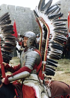 """Wonderful costumes from the set of """"Ogniem i mieczem"""" (""""With Fire and Sword""""), dir. Jerzy Hoffman [x] """" was a strange year, with many a sign in the sky and on the earth foreboding some disastrous and extraordinary events' - Henryk. Medieval Knight, Medieval Armor, Military Art, Military History, Battle Of Vienna, Types Of Armor, Mirror Image, 17th Century, Middle Ages"""