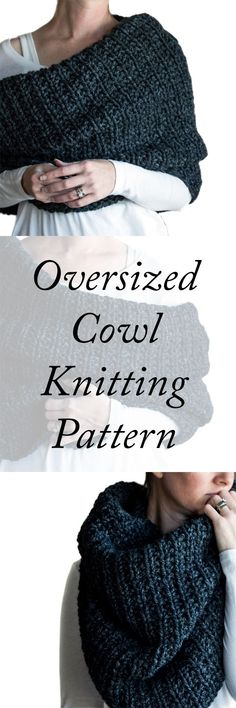 Super easy over-sized cowl knitting pattern by Brome Fields. Super easy over-sized cowl knitting pattern by Brome Fields. Love Knitting, Easy Knitting, Knitting Stitches, Knitting Patterns Free, Knitting Needles, Knitting Yarn, Knit Patterns, Finger Knitting, Knitting Machine