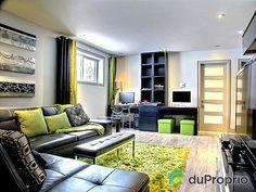 Plan de Maison unifamiliale no. 3713-V1 offrant salle familliale au sous-sol de style contemporain ! #Green living room at the basement, DIY project contemporary !