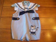Vintage Blue Stripe Sailor Infant Toddler Boy Jon by LittleMarin,