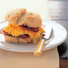 Egg, Canadian Bacon, and Cheddar Biscuit Sandwiches Recipe - Sara Moulton Recipe - Breakfast - Delish.com