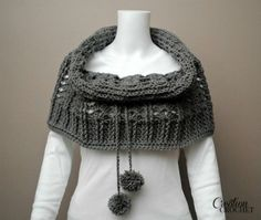 Cathedral Convertible Cowl half open on shoulders and pull up on top half, like a cowl collar 2