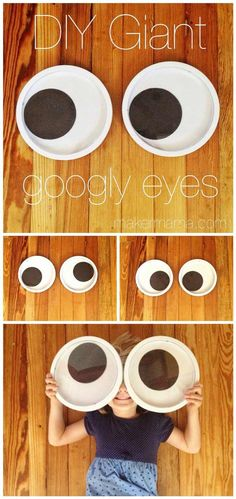 Easy DIY Giant Googly Eyes--perfect for Halloween decorations, potential costume ideas or a photo booth Monster Party, Monster Birthday Parties, Minion Birthday, Minion Party, Diy Birthday, Diy Halloween, Theme Halloween, Holidays Halloween, Halloween Office Decorations