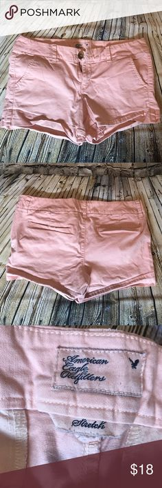 American Eagle Light Pink Midi Shorts American Eagle stretch midi shorts in a beautiful light pink color. In excellent used condition with no signs of wear. Offers welcome! American Eagle Outfitters Shorts