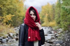 ♥ Large, oversized, hooded scarf ♥ Big and chunky for maximum warmth ♥ Versatile and easy to wear ♥ Soft blend of wool and acrylic  The hooded scarf: