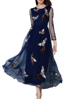 Women's+Phoenix+Embroidery+Print+Sheer+Mesh+Maxi+Dress