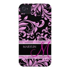 Elegant pink and black damask with monogram iPhone 4 covers