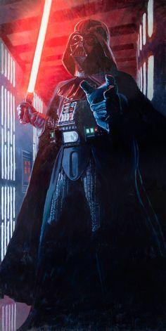 "Darth Vader Discover ""Confronting Vader"" by Chris Clark Star Wars interpretive artwork Star Wars Saga, Vader Star Wars, Lego Star Wars, Star Trek, Anakin Vader, Darth Vader, Star Citizen, Chewbacca, Luke Skywalker"