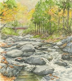 川岸からの秋 (安家 松ケ沢) ワトソン色紙 クサカベ