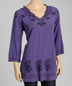 Look what I found on #zulily! Mulberry & Black Embroidered Paisley Tunic by Nomadic Traders #zulilyfinds